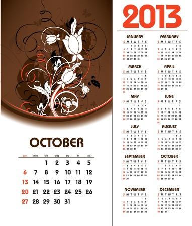 kalender oktober: 2013 Calendar oktober Stock Illustratie