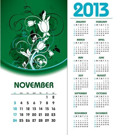 2013 Calendar  November  Vector