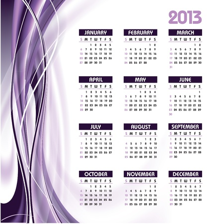 wednesday: 2013 Calendar  Illustration