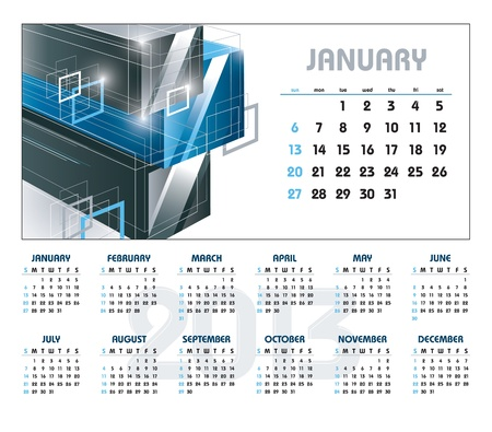 2013 Calendar  January  Stock Vector - 14633803