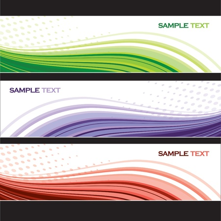 green swirl: Abstract Banners  Set of Three  Vector Design