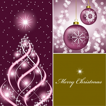 pink ribbons: Christmas Background  Vector Illustration  Illustration
