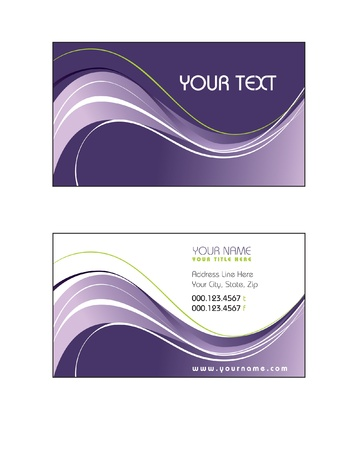 purple swirls: Business Card Template  Vector Eps10