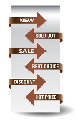 Set of arrow sale stickers  Ilustrace