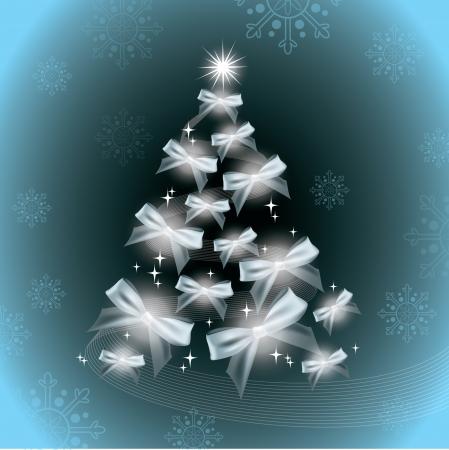 silver star: Christmas Tree Illustration