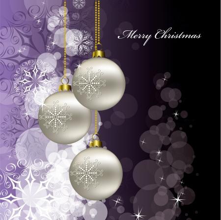 silver ribbon: Christmas Background  Vector Illustration  Illustration