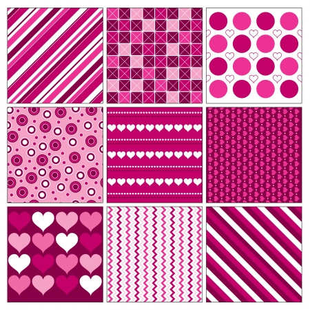 Seamless Valentines Day Backgrounds   Vector Illustration