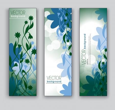 Vector Banners Abstracte Achtergronden florale thema Vector Illustratie