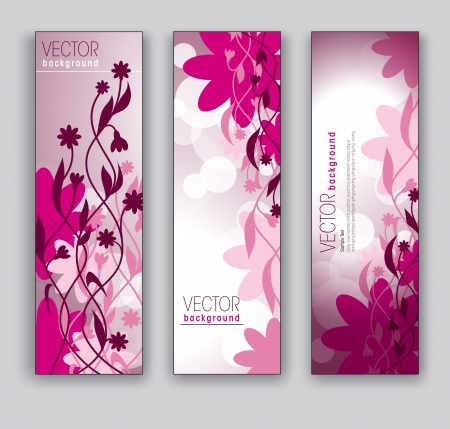Vector Banners  Abstract Backgrounds  Floral Theme  Vector