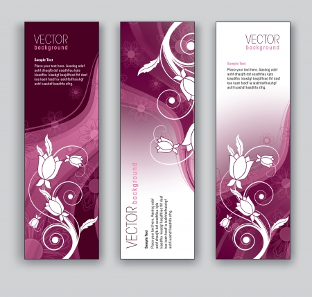 Vector Banners  Abstract Backgrounds  Floral Theme  Stock Vector - 17883719