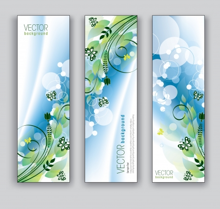 Vector Banners  Abstract Backgrounds  Floral Theme  Stock Illustratie