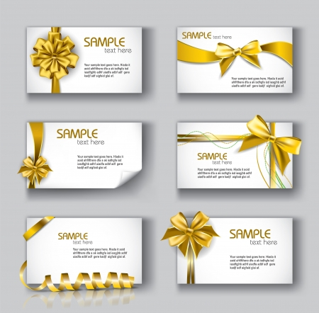 yellow ribbon: Set of Beautiful Cards With Gift Bows And Ribbons   Illustration