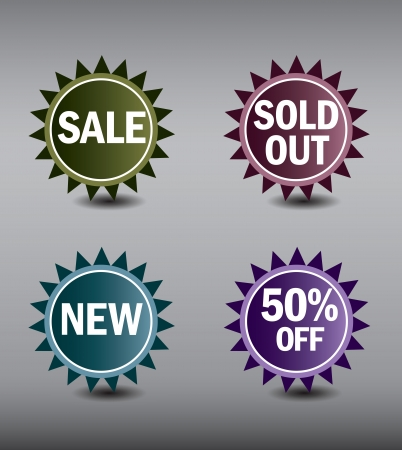 Round Labels or stickers for sale, 50  off, new and sold out items Vector