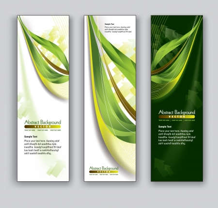 green and gold: Vector Banners  Abstract Backgrounds  Illustration