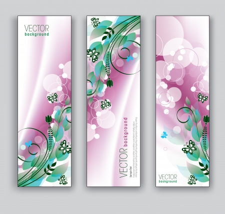 bookmark background: Vector Banners  Abstract Backgrounds  Floral Theme  Illustration