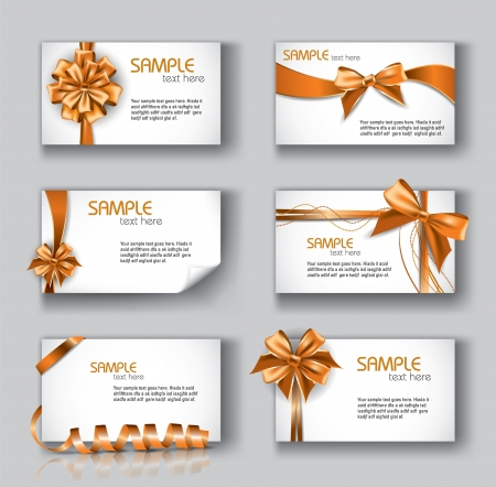 Beautiful Cards With Gift Bows And Ribbons  Set of 6  Vector