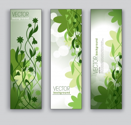 Vector Banners  Abstract Backgrounds  Floral Theme  Иллюстрация