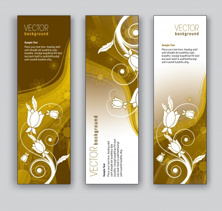 website backgrounds: Vector Banners  Abstract Backgrounds  Floral Theme  Illustration