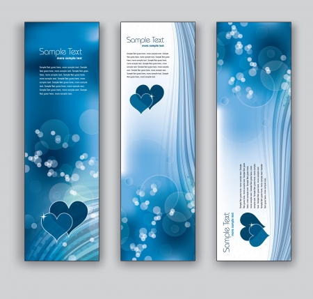 Abstract Banners With Hearts