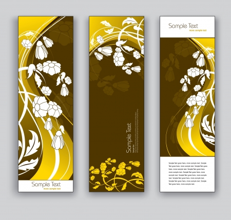 Abstract Banners  Floral Backgrounds  Eps10 Format  Vector