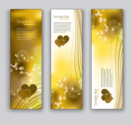 Vector Banners With Golden Hearts  Abstract Backgrounds  Vector