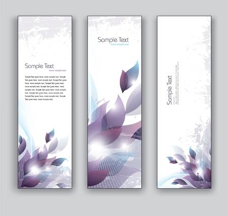 marcadores de libros: Banners Vector Floral Abstracto Vectores