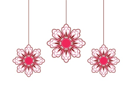 Three hanging flowers   Vector
