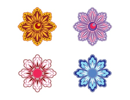 Set of Four Flowers   Illustration