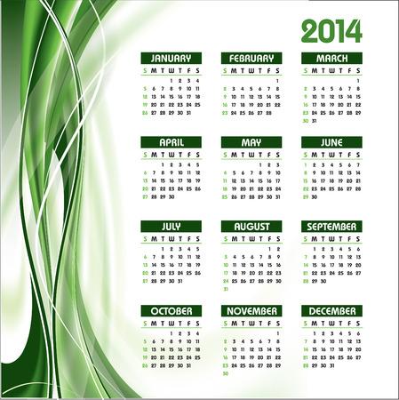 2014 Calendar  Stock Vector - 22398799