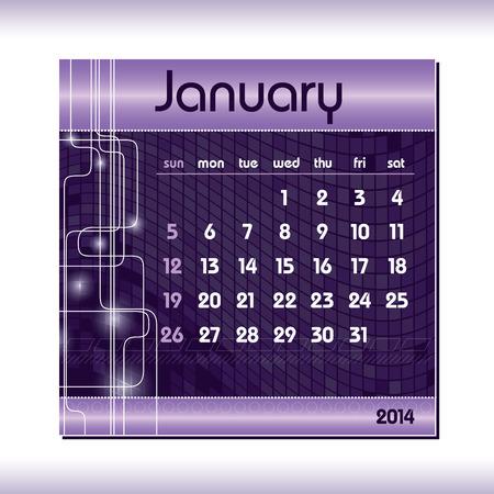 2014 Calendar  January  Vector