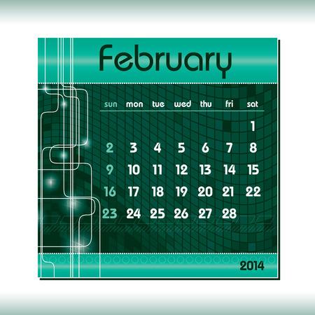 2014 Calendar  February  Vector