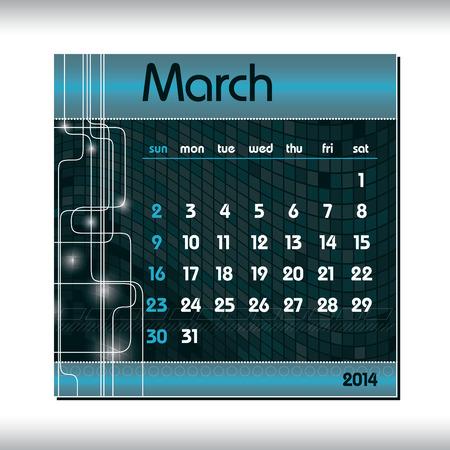 2014 Calendar  March  Vector