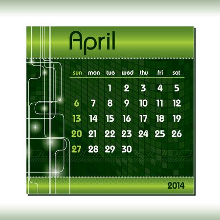 2014 Calendar  April  Vector