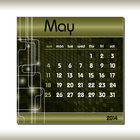2014 Calendar  May  Vector