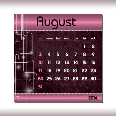 2014 Calendar  August  Vector
