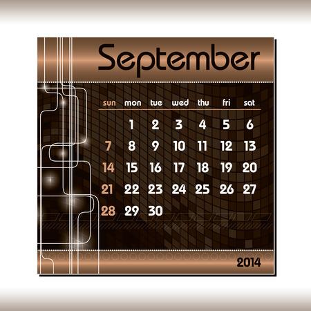 2014 Calendar  September  Vector