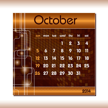 2014 Calendar  October  Vector