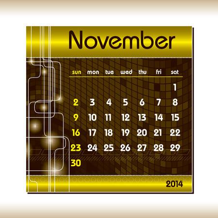 2014 Calendar  November  Vector