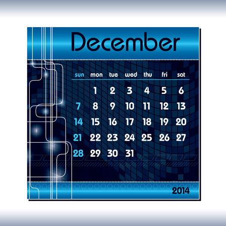 december kalender: 2014 Calendar  December