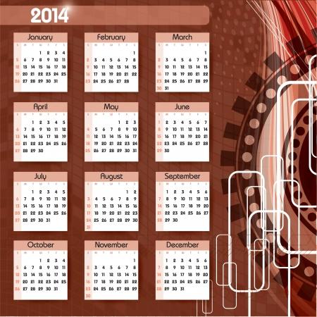 2014 Calendar   Stock Vector - 22398844