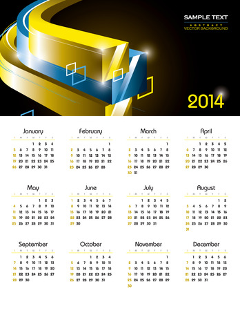 2014 Calendar  Vector Background  向量圖像