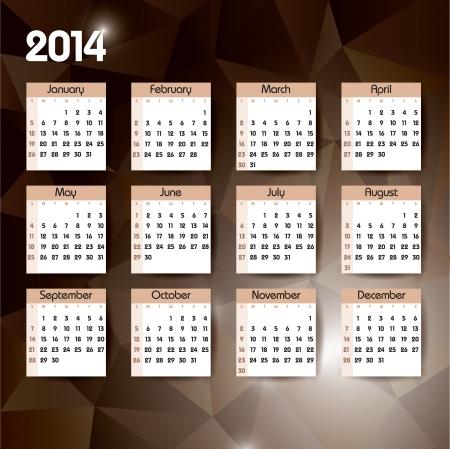 jammed: 2014 Calendar  Vector Background  Illustration