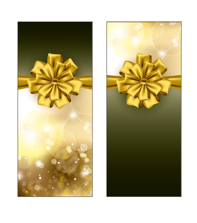 Greeting cards   Gift cards with golden bows  Vector Design  Ilustracja