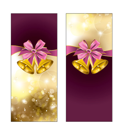 Greeting cards with golden bells  Vector Design  Vector