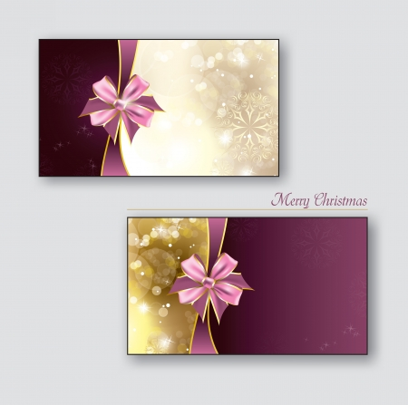 Greeting cards   Gift cards with golden bows  Vector Design