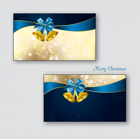 Greeting cards with golden bells  Vector Design
