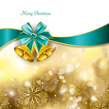 campanas navidad: Fondo de Navidad con campanas de oro Vector Design Vectores