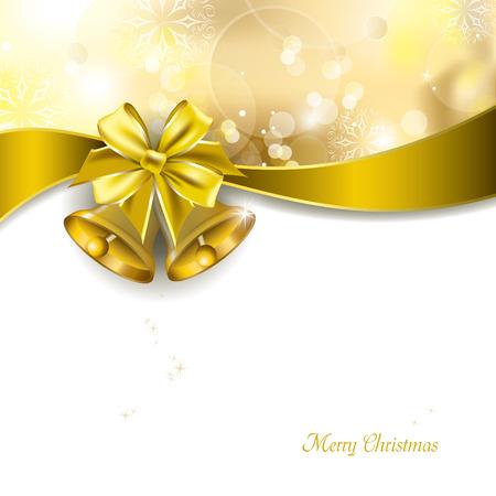 campanas de navidad: Fondo de Navidad con campanas de oro Vector Design Vectores