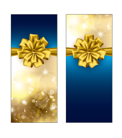 Greeting cards with golden bows  Christmas Background   Vector