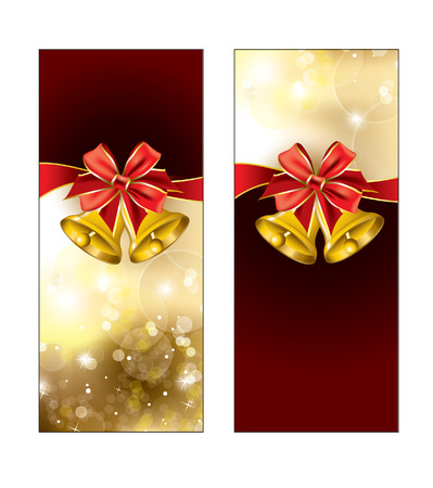 Greeting cards with golden bells  Red Background   Vector